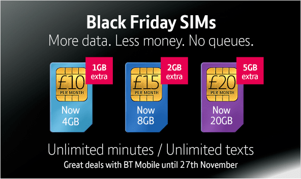 BT Mobile Black Friday SIM only plans