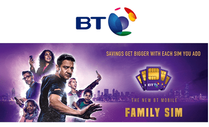 BT Mobile's Family SIM promotional banner