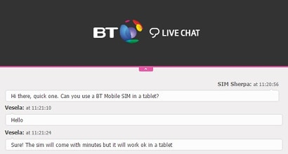 BT Mobile SIMs in tablets