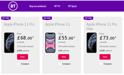 BT Mobile smartphone contracts