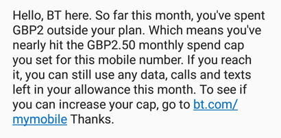 BT spending cap text