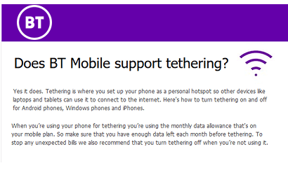 BT Mobile tethering allowed