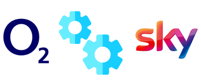 Gears icon with O2 and Sky logos