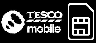 Tesco Mobile logo with a SIM card