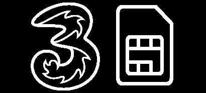 three logo with a SIM card