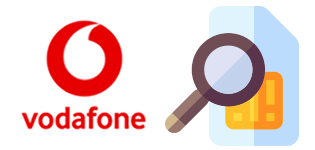 Vodafone logo and a SIM card with magnifying glass