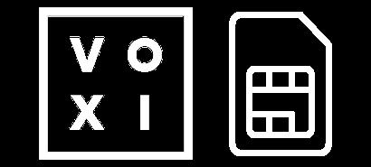 VOXI logo with a SIM card