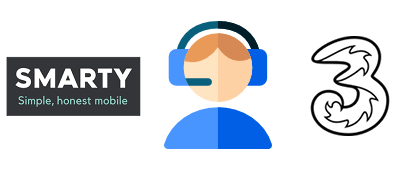 Person with headset with SMARTY and Three logos