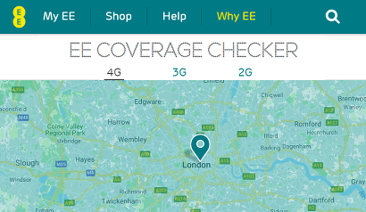 Screenshot of EE's coverage checker