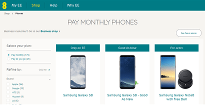 Pay monthly phones on EE