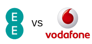 EE and Vodafone logos