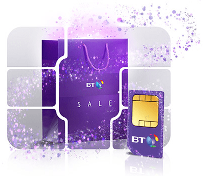 BT SIM card with a January sale shopping bag