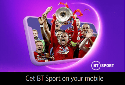 Banner from BT Mobile showing content available on the BT Sport app