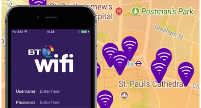 BT WiFi app with a hotspot map