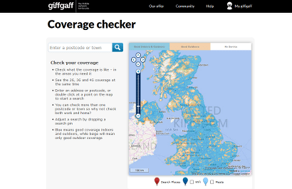 giffgaff's coverage checker