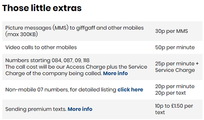 giffgaff's out of bundle costs screenshot