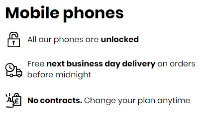 Phone contract benefits listed