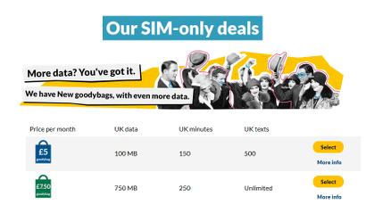 giffgaff SIM only deals