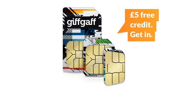 giffgaff's £5 free credit offer