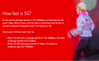 Vodafone 5G banner with runner