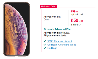 Unlimited data on iPhone XS