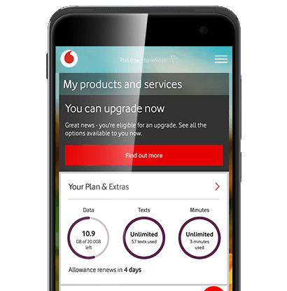 Phone using Vodafone's My Vodafone app