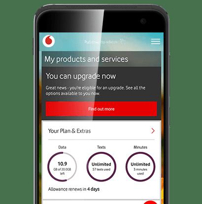 Phone using Vodafone's My Vodafone app