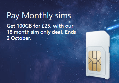 O2's 100GB for £25 SIM only deal
