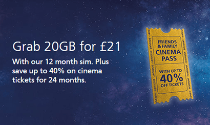 O2 20GB for £21 SIM only deal