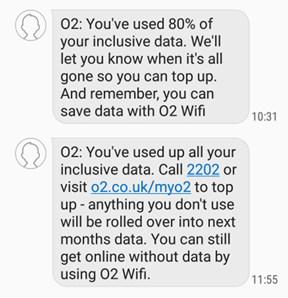 Screenshot of texts from O2