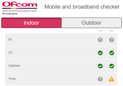 Screenshot of Ofcom's indoor signal check