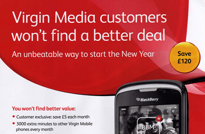 Old advert for Virgin Media customer exclusive prices