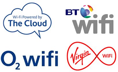 Logos of free WiFi hotspot providers