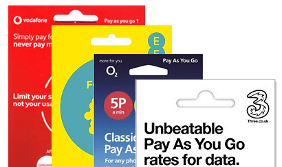 A selection of pay as you go SIM cards