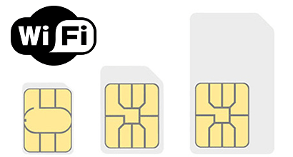 Three SIM cards and the WiFi symbol