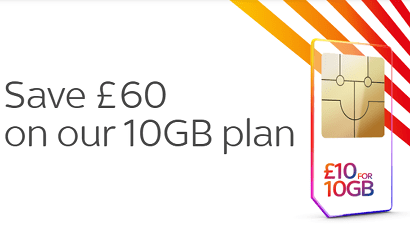 Sky Mobile 10GB for £10