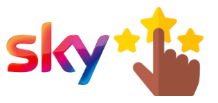 Sky logo and a thumbs up
