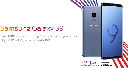Sky Mobile Samsung Galaxy S9 offer banner