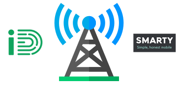 Mobile antenna with iD and SMARTY logos