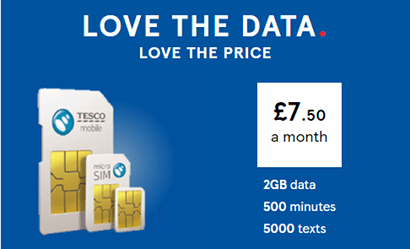 Tesco Mobile 2GB SIM banner