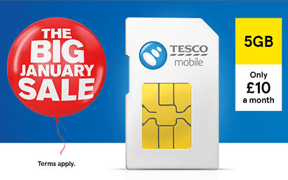Tesco Mobile January sale SIM only