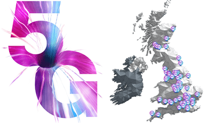 5G logo and Three branded map of the UK