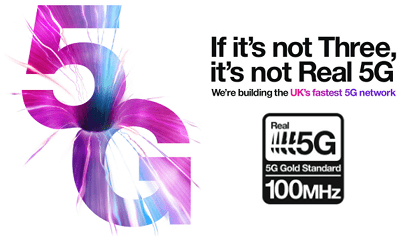 Three's Real 5G network banner