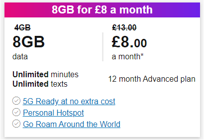 Three 8GB for £8 offer