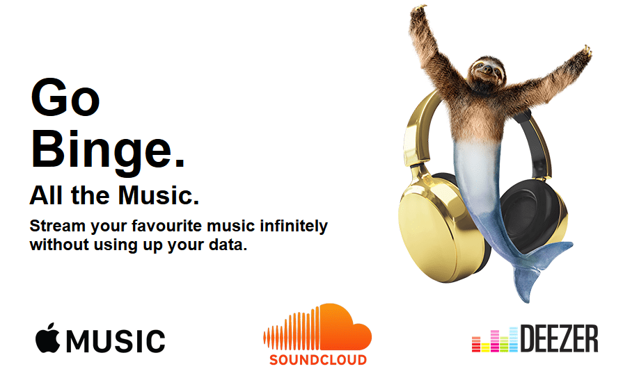 Banner showing Three's Go Binge with free Apple Music streaming data