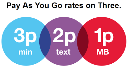 Three's pay as you go rates