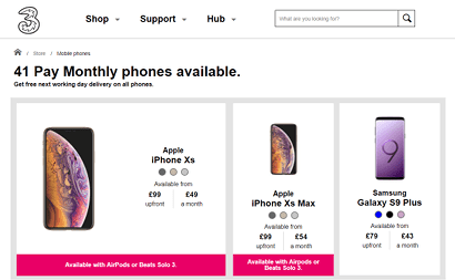 Screenshot of Three's pay monthly phone range