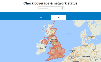 Three's coverage map