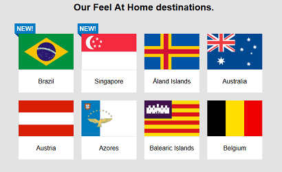 Flags of new Three roaming destinations