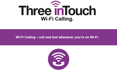 Three inTouch WiFi calling banner
